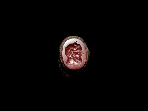 Roman Iron Ring with Bust of Bearded Man