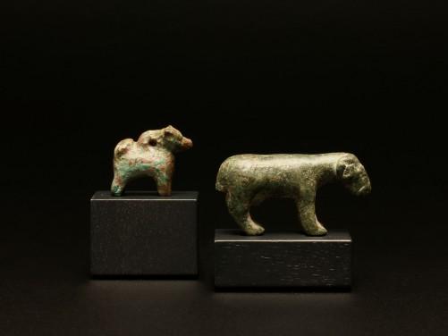 Roman Bronze Ram and Dog