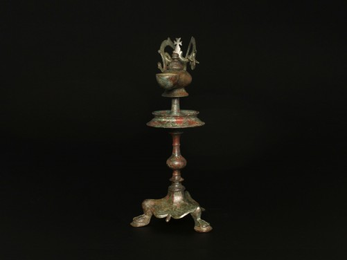 Byzantine Bronze Oil Lamp and Stand