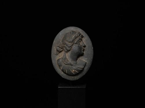 Roman Basalt Cameo of a Maiden