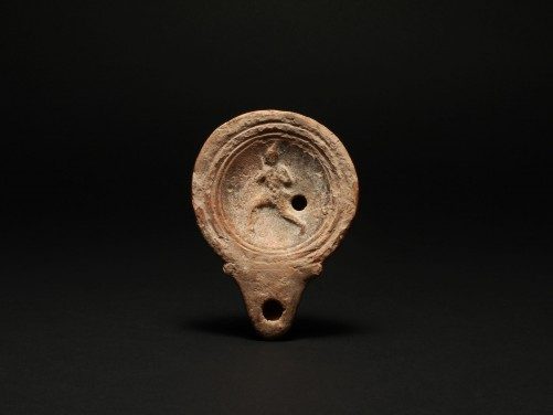 Roman Oil Lamp with a Man