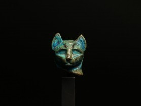 Egyptian Faience Cat Head