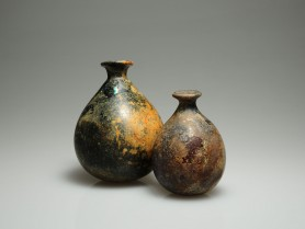 Pair of Islamic Pyriform Glass Flasks