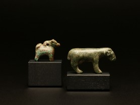 Roman Bronze Ram and Dog