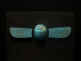 Egyptian Faience Winged Scarab