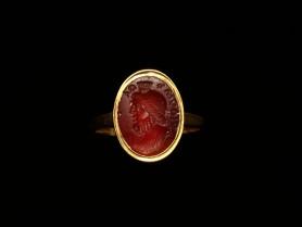 Ring with Roman Carnelian Intaglio of Serapis