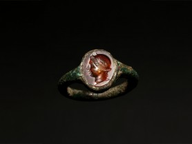 Roman Bronze Ring with Female Bust
