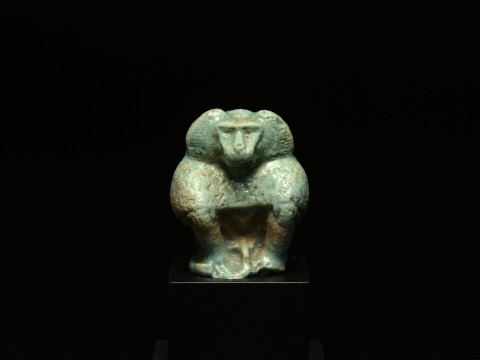 Egyptian Faience Baboon Amulet