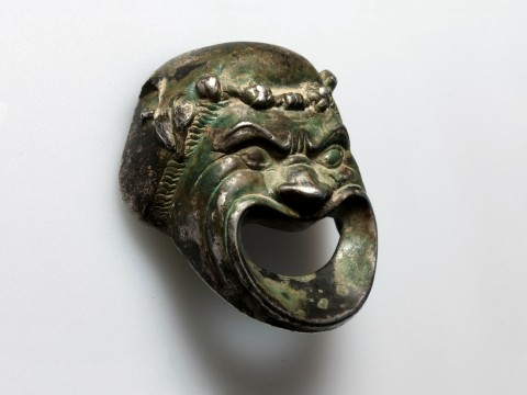 Roman Silver Theatre Mask Appliqué
